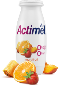 Actimel Multifruit Cultured Yogurt Shot with 0% Fat, 0% Added sugar