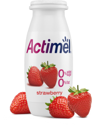 Actimel Strawberry Cultured Yogurt Shot with 0% Fat, 0% Added sugar